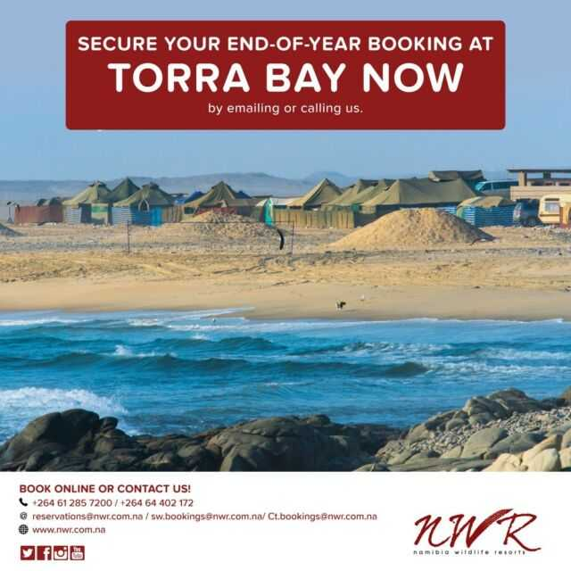 Catch and secure your December camping spot at Torra Bay by emailing or calling NWR!  reservations@nwr.com.na +264 61 2857200 +264 64 402 172 #NWRMemories #TravelWithNWR #Namibia #Africa #travelafrica #travel #tourist #NWR #instatravel #NWRMoments #torrabay